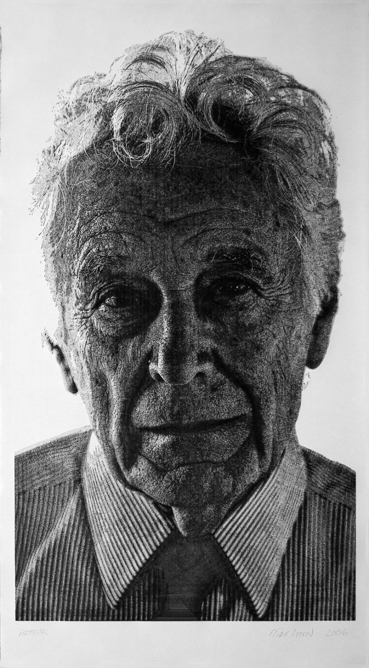 """Arthur"", Oct 31, 2006, 77 x 42.5 inches, pen and ink on Rives BFK paper, private collection"
