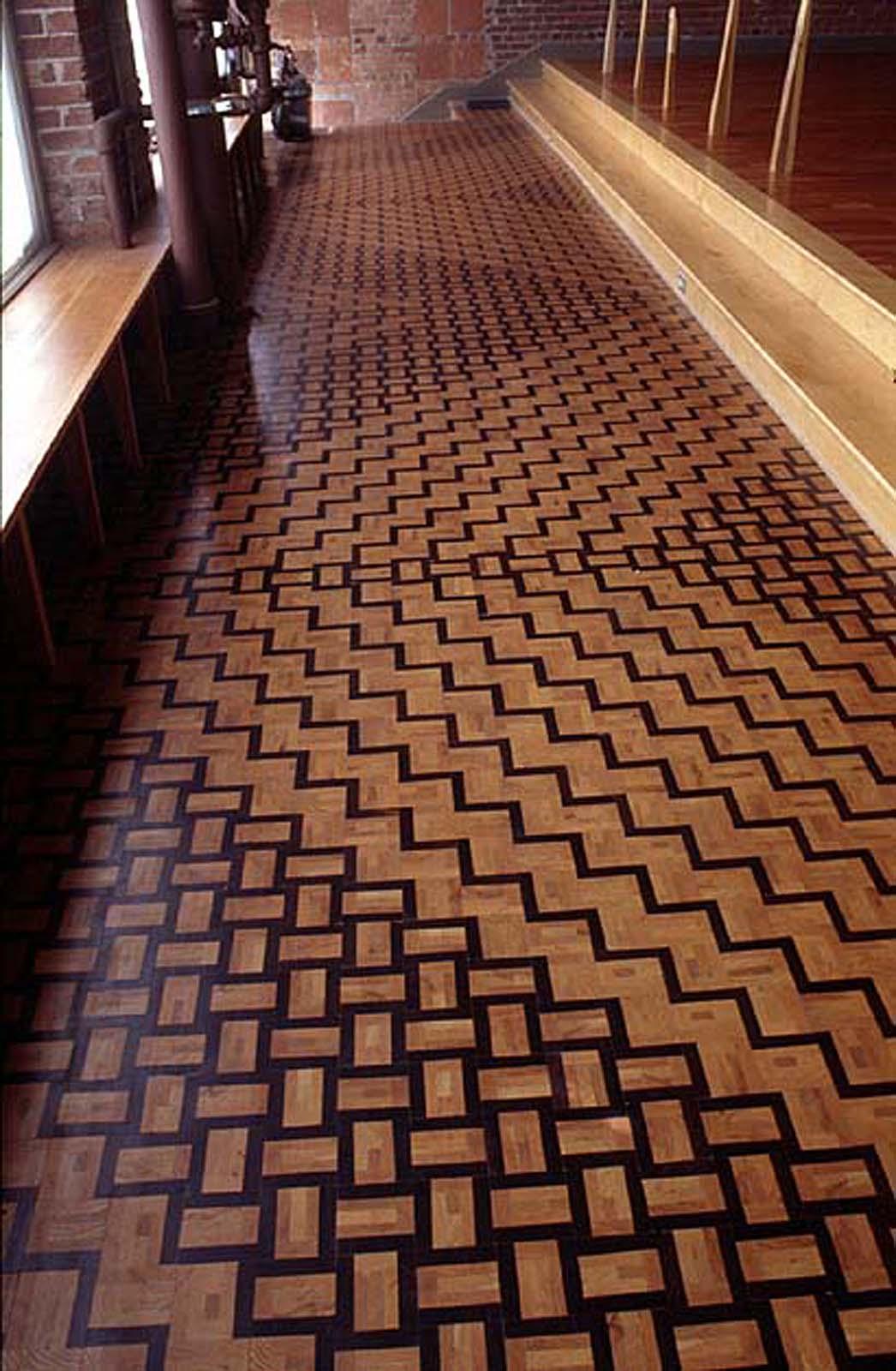 Tiled Floor Of Vertical Grain Oak And Padauk