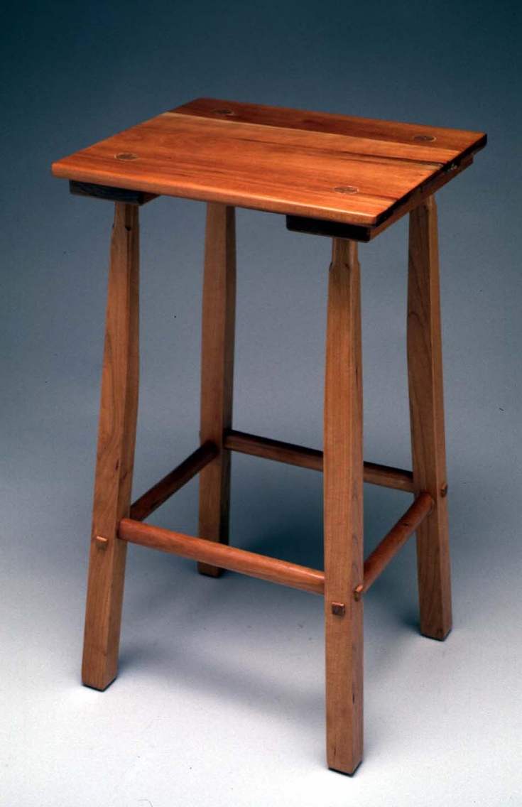 "Splay leg thin-top stool, 1999, 25"" high, cherry wood, lacquer finish (photo: Al Surratt)"