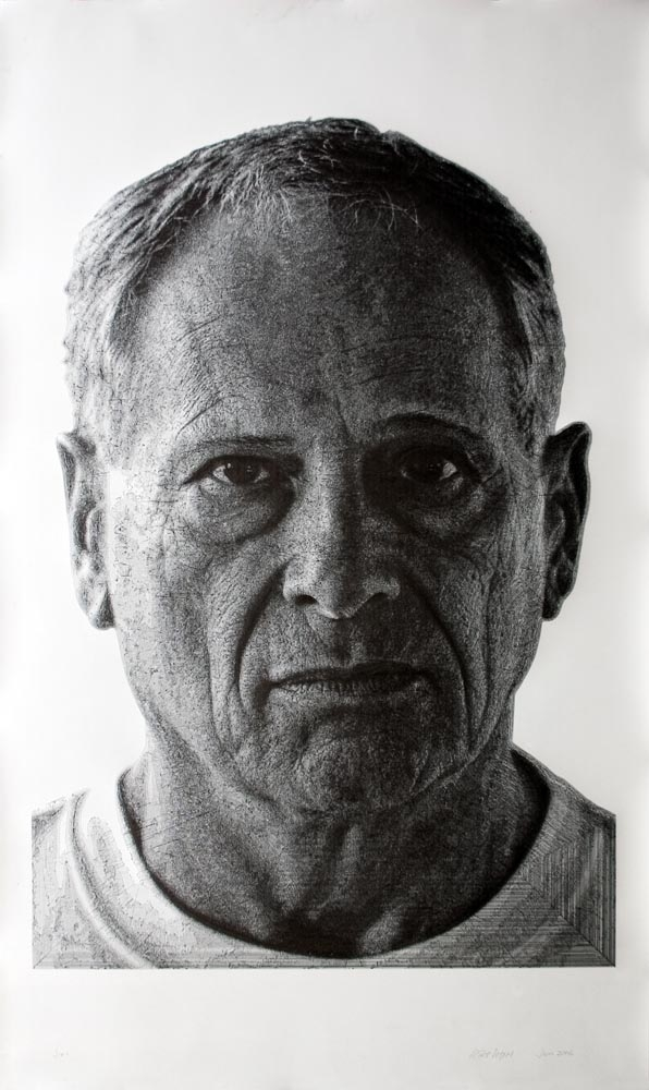 """Jon"", 76 x 45 inches, pen & ink drawing, completed July 10, 2006.  Permanent Collection, Daum Museum of Contemporary Art"