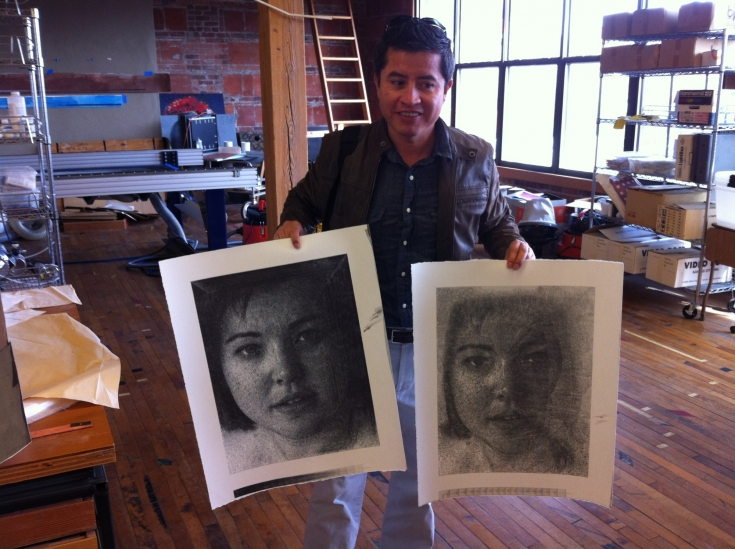 Miguel in studio - he took two of my Elizabeth portraits to work up in collaboration. I think I am waiting for whatever of his work he provides me...  Kinda exciting!