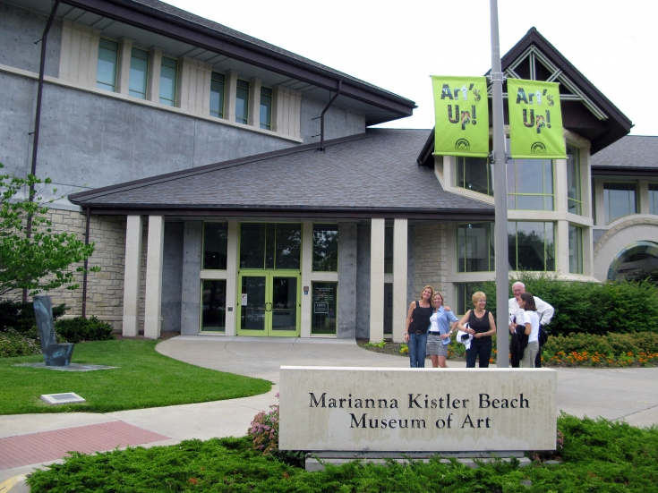 The group arrives at the Beach Museum of Art in Manhattan, Kansas