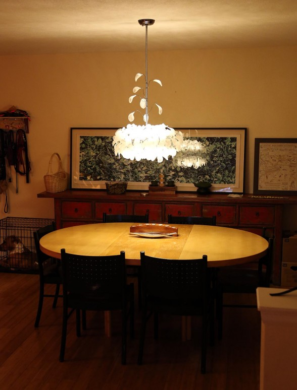 The completed chandelier installed at Cecily and Mike's