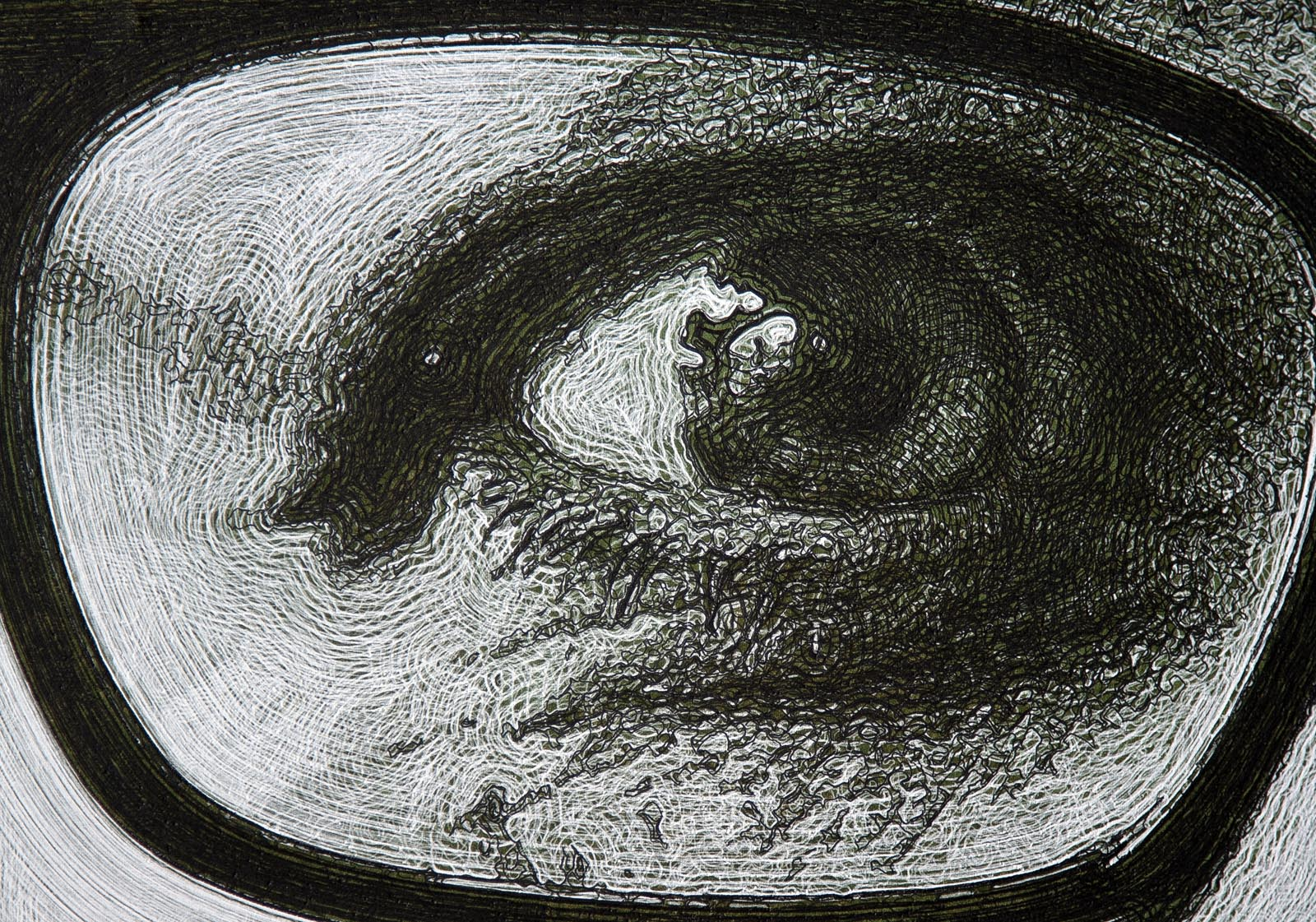 misty pen and ink drawing 82 x 45 inches