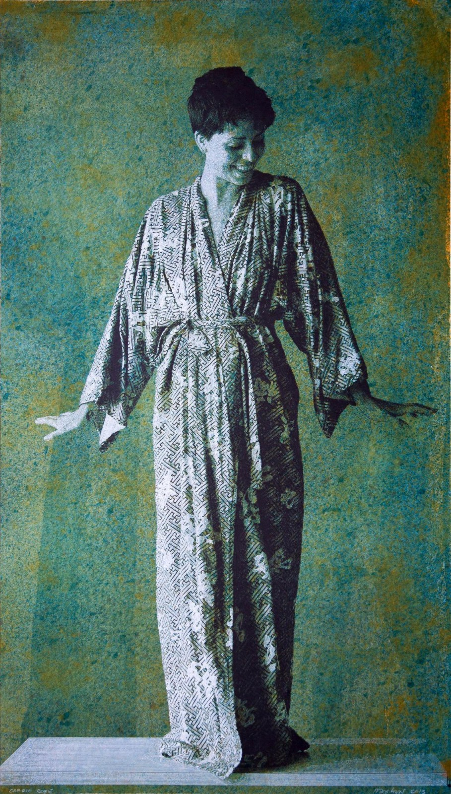 """Carrie Robe"" 2013, 76.5 x 43.5 inches, painting in watercolors and drawing in black and white inks on paper"