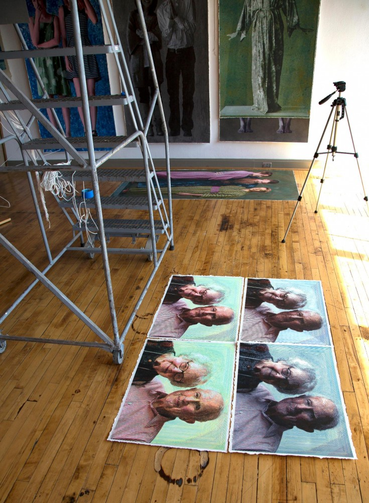 April, 2014 - the four 22 x 30 small drawings on studio floor