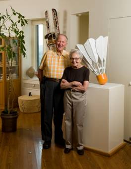 Morton & Estelle at home with Oldenburg shuttlecock maquette (click to visit Nelson-Atkins Museum bio)