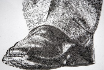 Topper 79 x 38 inches large pen and ink drawing