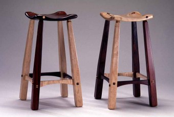 Stools of Cocobolo and Curly Maple